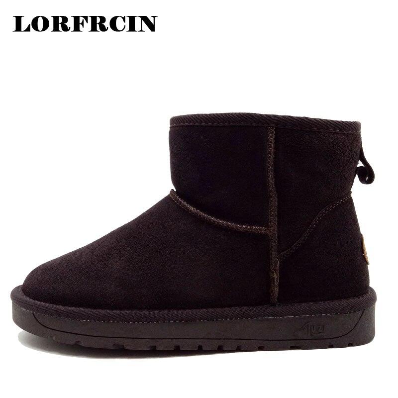 buscar autorización excepcional gama de estilos modelos de gran variedad LORFRCIN Mujeres Nieve Botas de Piel de Cuero Genuino ...