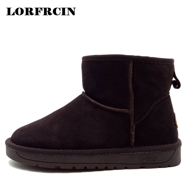 LORFRCIN Women Snow Boots Genuine Leather Fur Lined Ankle Boots Warm Winter Shoes Woman Casual Flats Boot Size 35~40 Mujer Botas brand women boots thicken warm winter ladies snow boot women shoes woman fur ankle boots chaussure femme botas mujer 2017 svt905