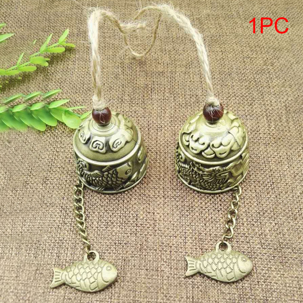 Fengshui Wind Chimes Garden Bell Good Luck Hanging Ornament Antique Dragon Bronze Fish Vintage Gift Bless Home Handicrafts