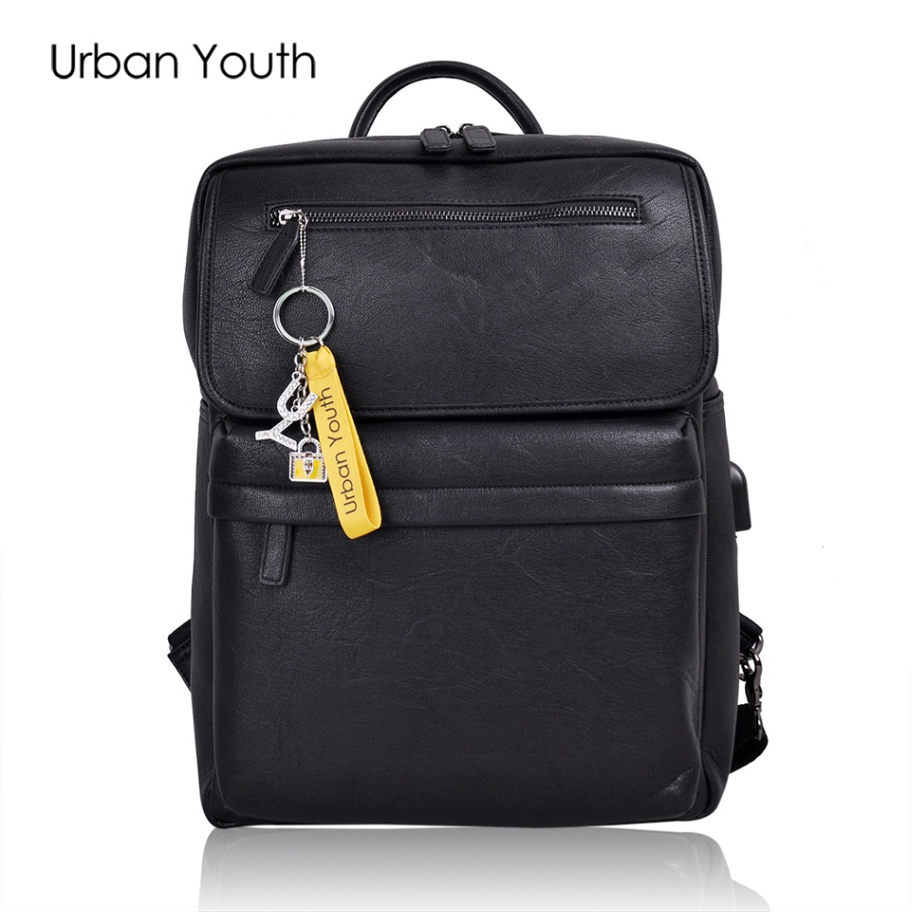 Urban Youth 2017 PU Leather backpack women bag oil wax cow leather vintage backpacks Female back