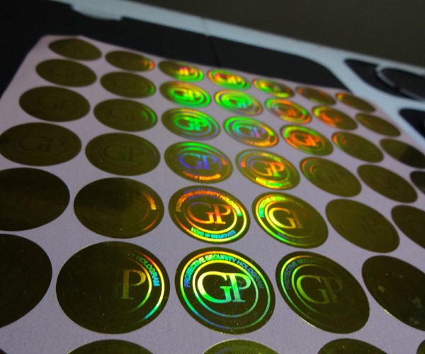 Self adhesive hologram uv ink printing labels sticker free design void if removed