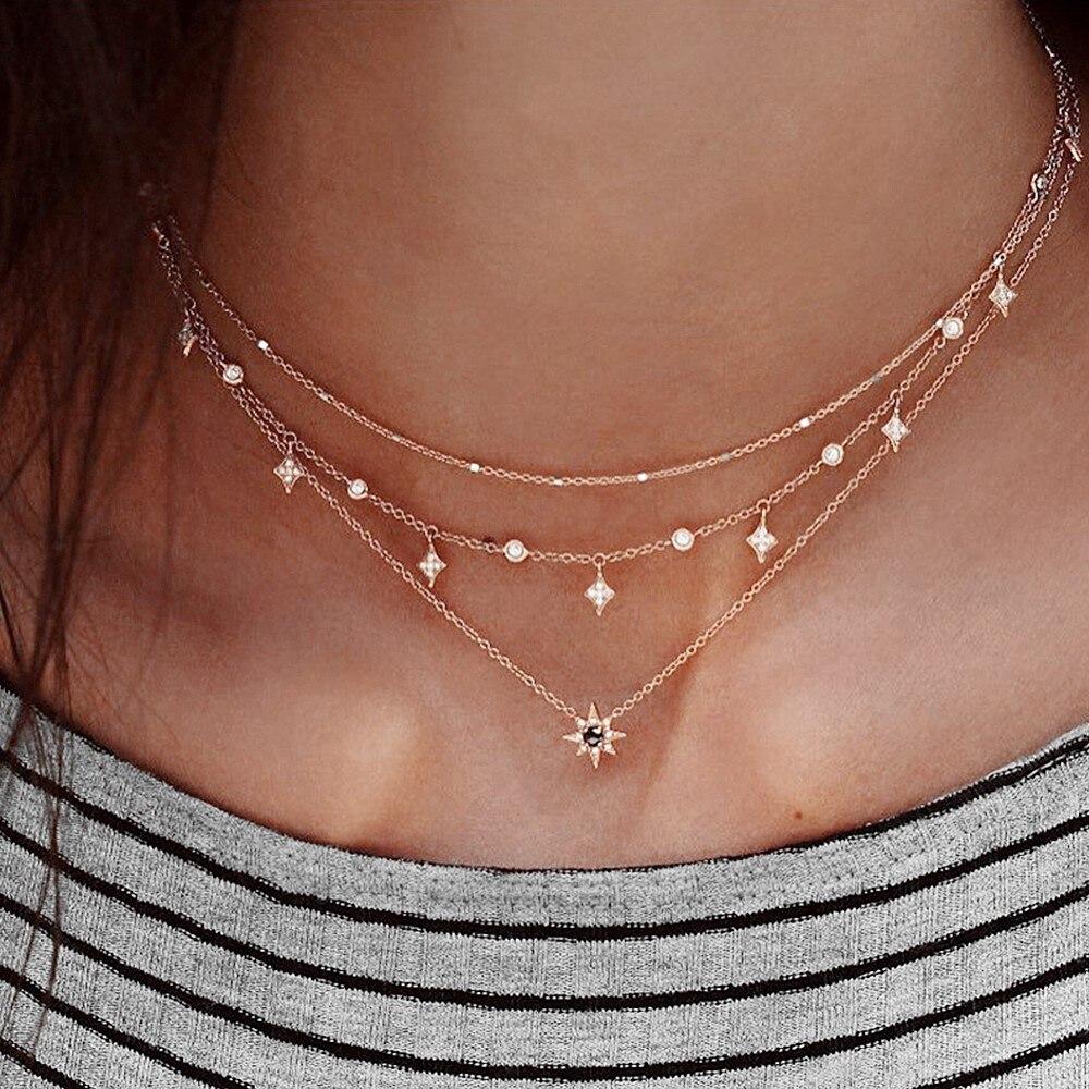 Collier pendentif multicouche bohème pour la mode des femmes, collier de chaîne de charme géométrique bijoux en gros