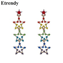 Korean Colorful Crystal Stars Long Earrings For Women 2019 New Luck Fashion Jewelry
