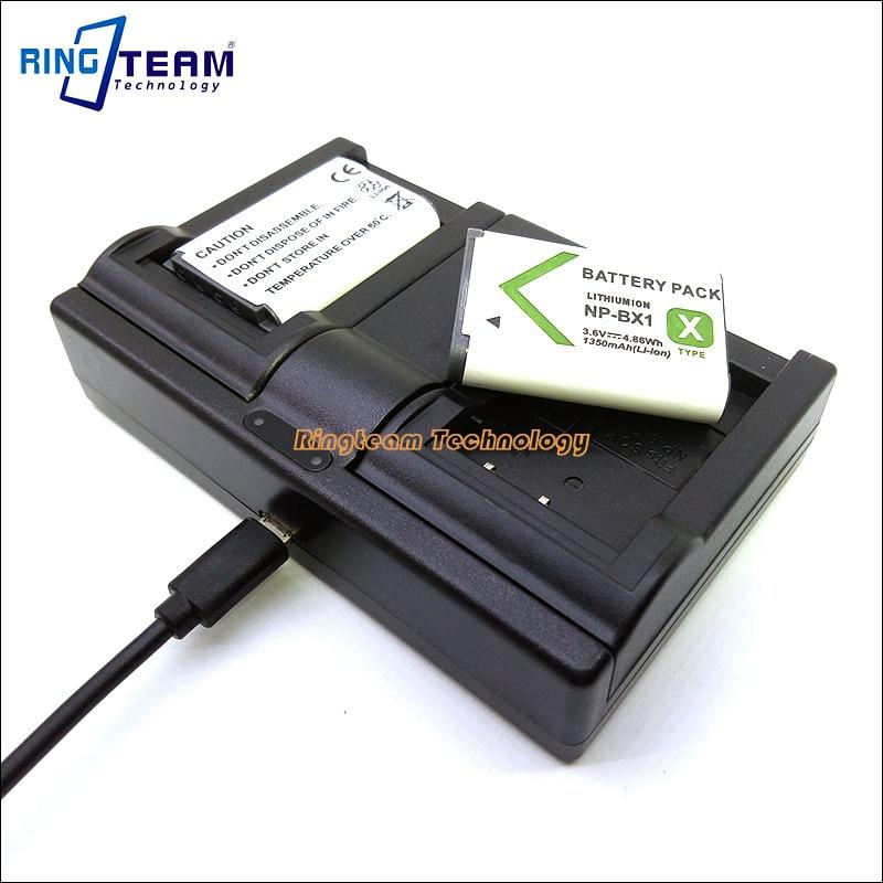 np-bx1 2 x batería CARGADOR para Sony Cyber-shot dsc-wx300//dsc-wx350
