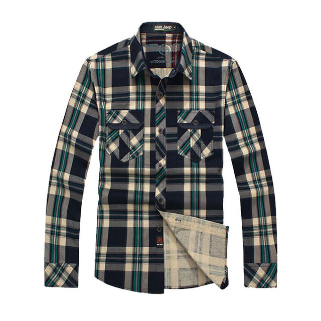 2017 Men Brand NIAN JEEP Plaid Dress Shirts Plus Size Long Sleeve Cotton Casual Loose Camisas Hombre Blouse Business Clothes 3XL
