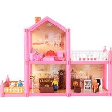 50.5 * 37 cm No.953 DIY Famille Maison de Poupée Jouet 2 Planchers Maison de Poupée Playset Avec Miniature Meubles Jardin Jouets Pour Fille Cadeaux