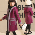 Высокое Качество 2016 Зимние Девушки Замши Пальто Девушки Пальто Оленьей Детей Плюс бархат Утолщение С Капюшоном Пальто Ребенок Ватные Куртки