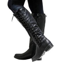 KarinLuna/большие размеры 33-50, Прямая поставка, осенне-зимние сапоги до колена модная женская обувь с перекрестной шнуровкой женские сапоги для верховой езды