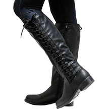 KarinLuna large sizes 33-50 dropship autumn winter Knee High Boots Fashion cross-tied Women Shoes Woman riding Boots women