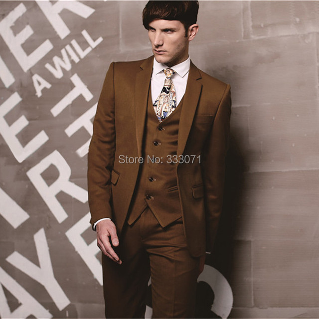 tailor made 2015 New Groom Suits coffee brown Tuxedos Best man ...
