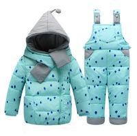 2019 cold Winter children Clothes Sets Children Down down Jackets Kids Snowsuit Warm Baby Ski Suit Down Outerwear Coat+Pants