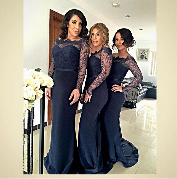 fd7ca75346740 US $129.99 |2016 Sheer Long Sleeve Mermaid Bridesmaid Dresses Navy Blue  Satin Lace Junior Wedding Party Dress Cheap Maid of Honor Gown BR51-in ...