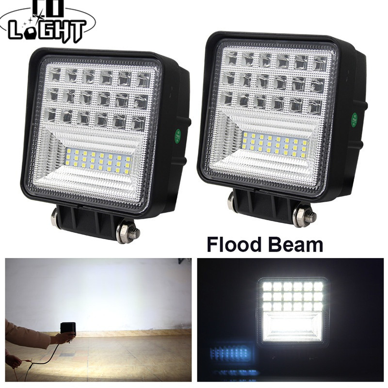 цена на CO LIGHT LED Work Light 63W 4.3 Offroad Led Light Bar Flood Beam for Tractor Truck Jeep ATV SUV 4WD 12V 24V Auto Driving Lamp