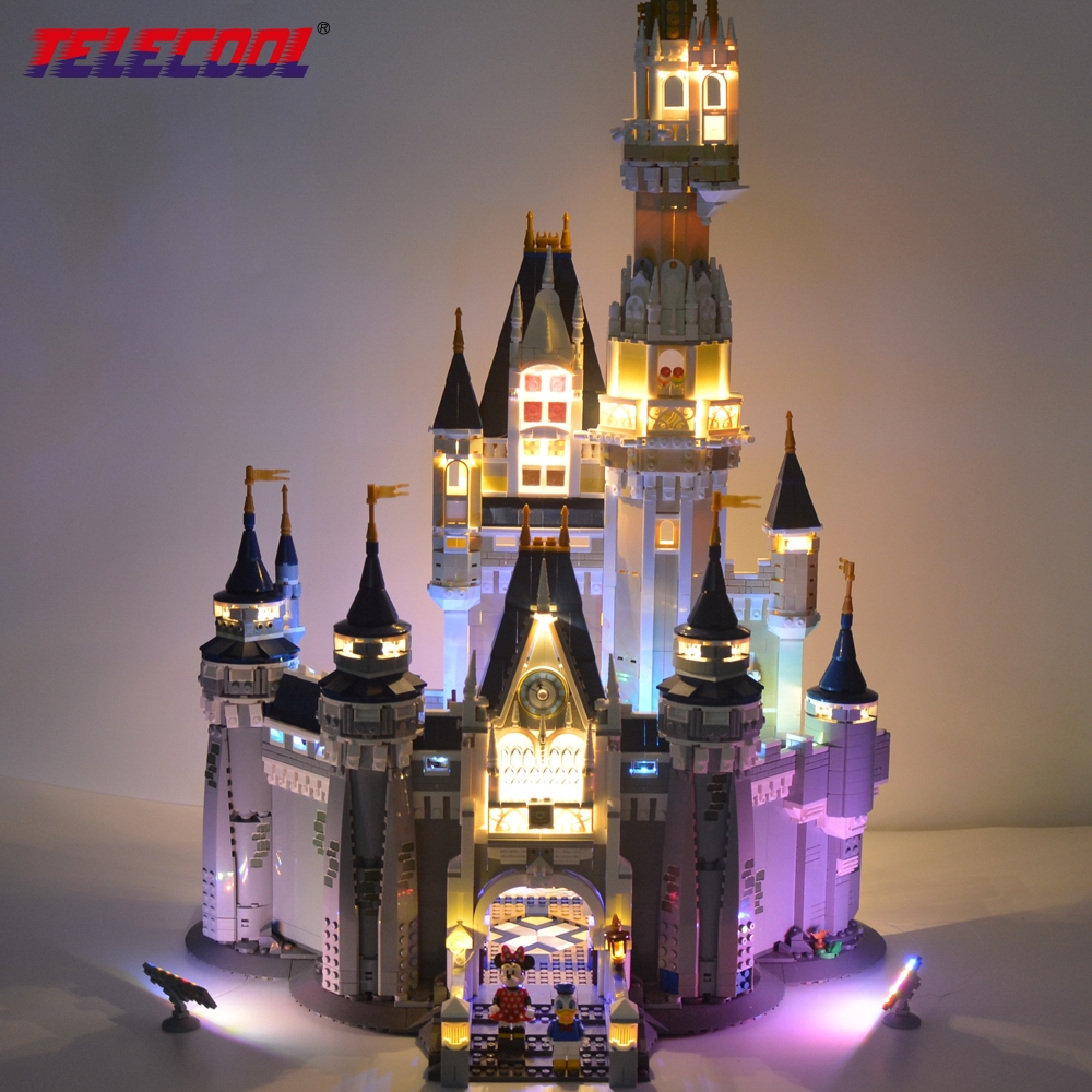 TELECOOL LED Light Block Set For Cinderella Princess Castle City Building Model Block Lepin 16008 And 71040 new lepin 16008 cinderella princess castle city model building block kid educational toys for children gift compatible 71040