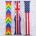 38/42mm Original Design Sports Silicon Band American Flag Design Striped Band for Apple Watch iwatch Rainbow Colors I51.