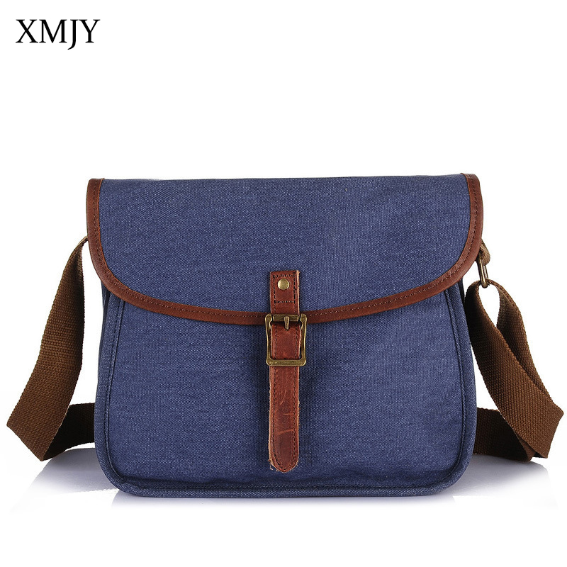 XMJY Men Canvas Bag Vintage Crossbody Shoulder Bag Fashion Denim Blue High Quality Canvas Small Messenger Bags School Travel high quality men canvas bag vintage designer men crossbody bags small travel messenger bag 2016 male multifunction business bag
