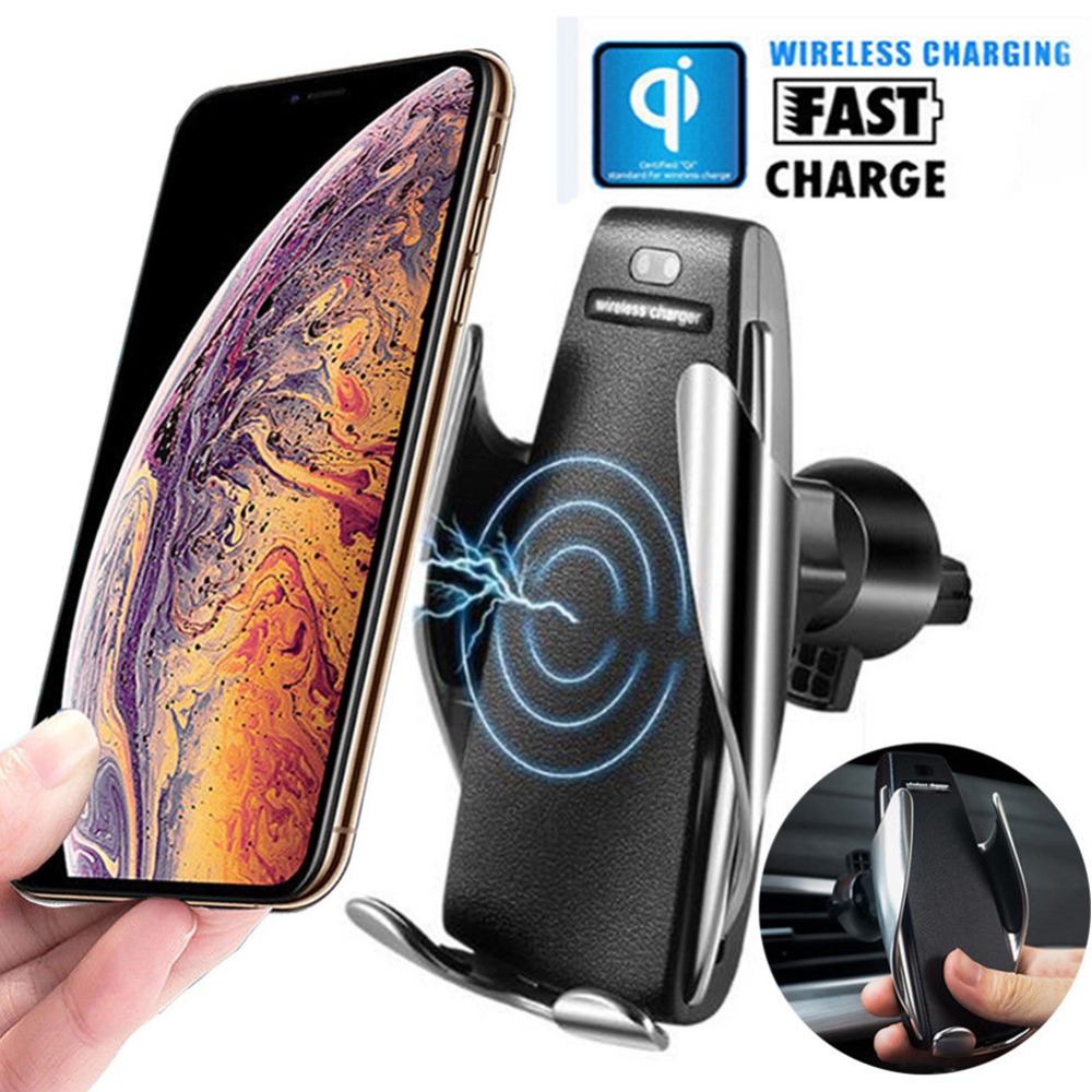 Automatic Clamping Car Wireless Charger 360 Degree Rotation Mount for iphone XR XS MAX Samsung S9 S8 Note 9 Qi Air Vent Holder