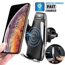 Автоматическое зажимное автомобильное беспроводное зарядное устройство с поворотом на 360 градусов для iphone XR XS MAX Samsung S9 S8 Note 9 Qi держатель для...