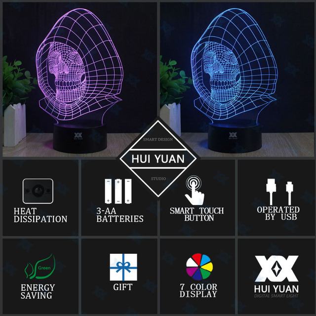 Star Wars Lamp BB-8 Death Star R2-D2 Millennium Falcon Skywalker 3D Lamp LED Novelty Night Lights Child's Gift HUI YUAN Brand