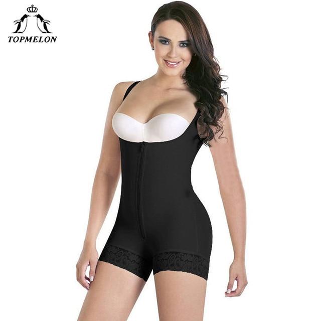 6eb3d0aec5 TOPMELON Women Sexy Lace Body Shaper Plunge U Underwear Slimming Bodysuits  Waist Trainer Zipper Shapewear Butt Lifter Seamless