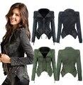 Alta calidad mujeres Denim chaquetas Autumn & Winter cortos pantalones de mezclilla chaqueta de la cremallera del remache de manga larga abrigos Coat a2020