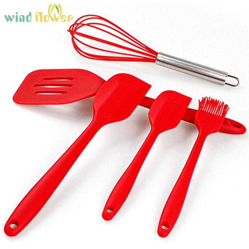 Wind flower 5 Pcs/ Set FDA Silicone Cooking Kitchen Baking Utensils Hygienic Coating <font><b>Bakeware</b></font> Sets Kit Silicone