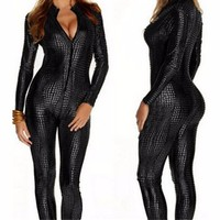 Abbille New Women Sexy Black Gold Silver Snake Skin Tight Playsuits Faux Leather Zipper Fornt Bandage Jumpsuit Bodysuit Catsuit