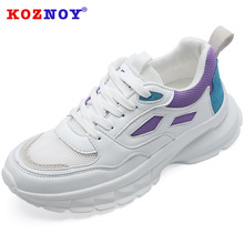 Koznoy Sneakers Women Spring Korean Version Dropshipping Breathable Muffin Bottom Color Matching Fashion Leisure Shoes