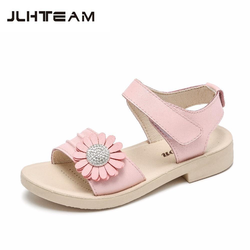 acef4bc2dc87a Hilabork 2018 summer new girls sandals girls princess leather beach sandals  snake winding diamond Roman wild fashion sandals
