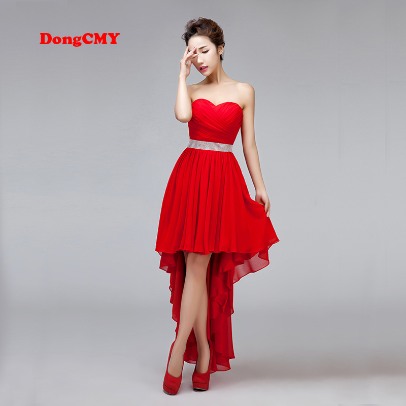 Prom Dresses Party Dongcmy New 2020 Lace Plus Size Strapless Chiffon Asymmetrical Backless