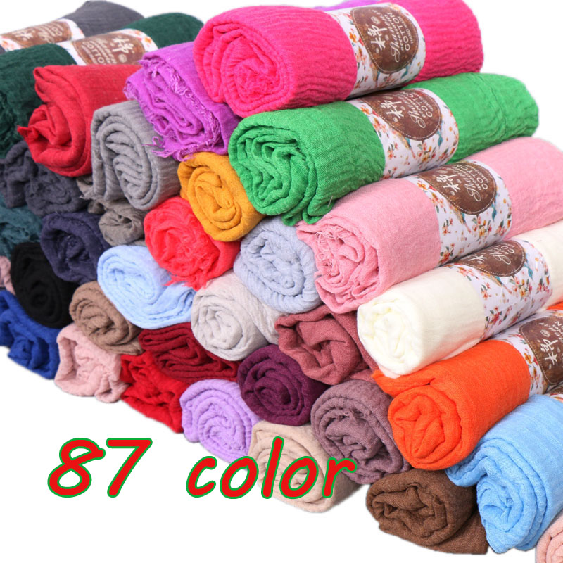 Women Crinkle Bubble cotton popular plain wrinkle   scarf   shawl   wrap   muslim hijab headband drape popular   scarves   85color 10pcs/lot