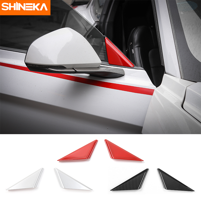 SHINEKA ABS Window Triangle Glass Cover Trim Stickers for Ford Mustang 2015 2016 2017 Car Styling