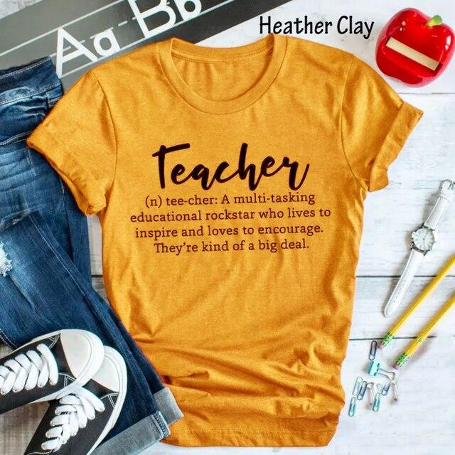 d7b6800e Women Yellow Clothes Tee Teacher Letter Slogan T-Shirt Tumblr Popular  Aesthetic Tops Trendy Teacher Girl Gift Shirt Outfits