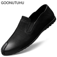 2019 new spring men's casual shoes genuine leather cow flat loafers male size 37-45 slip on shoe man nice driving shoes for men цены онлайн