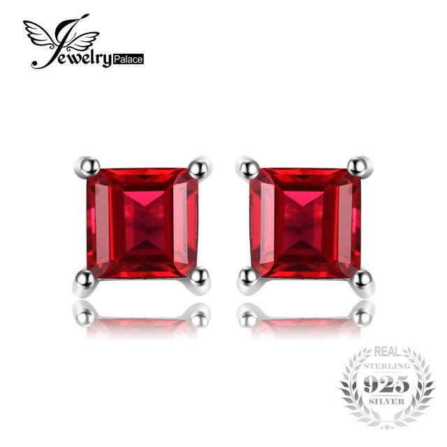 Princess Cut Pure Natural Red Garnet 925 Solid Sterling Silver Dazzling Earrings Stud For Women Fine Jewelry