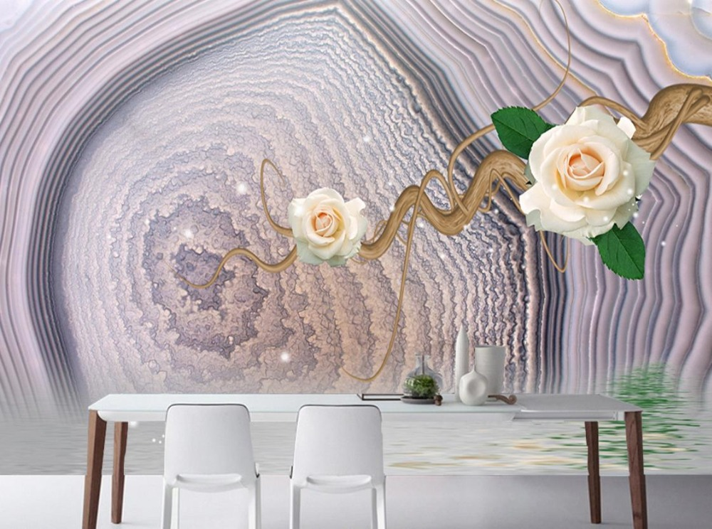 Home Decor Custom 3D Wall Murals Fashion flowers Marble Pattern Wallpapers For Living Room 3D Stereoscopic TV Backdrop deha