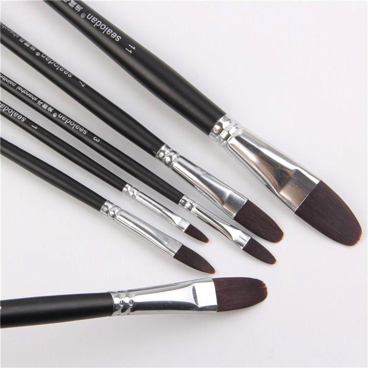 Factory Direct High-grade Nylon Hair Black Scrub Pole Brush Tongue Peak Painting Wholesale Acrylic Painting Pen Painting Brush