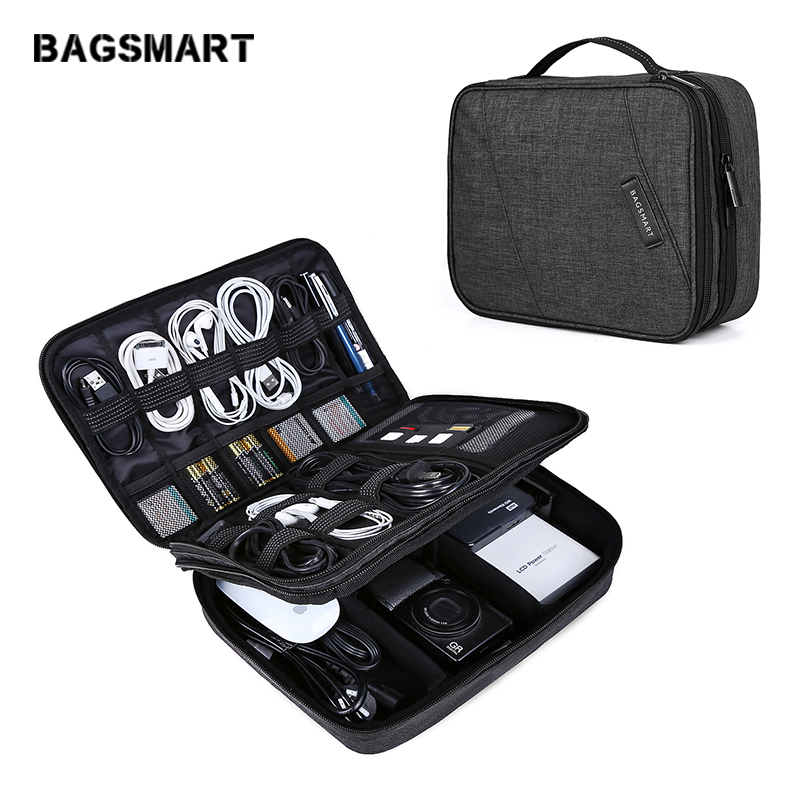 BAGSMART New Travel Accessories Double Layer Travel Universal Cable Organizer Cases Electronics Accessories Bag for iPad Pro Air electronics