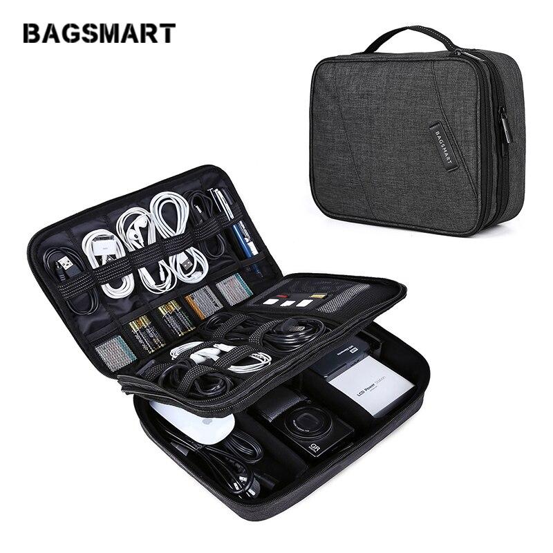BAGSMART Nouveau accessoires de voyage couche double Voyage câble universel Organisateur Cas Électronique Accessoires sac pour ipad Pro Air