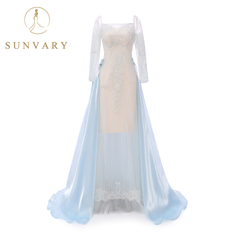 Sunvary High-end Custom Strapless Luxury Celebrity Dresses Sheer Long Sleeve  Flow Sexy Beading Red Carpet Dress Gown A-Line