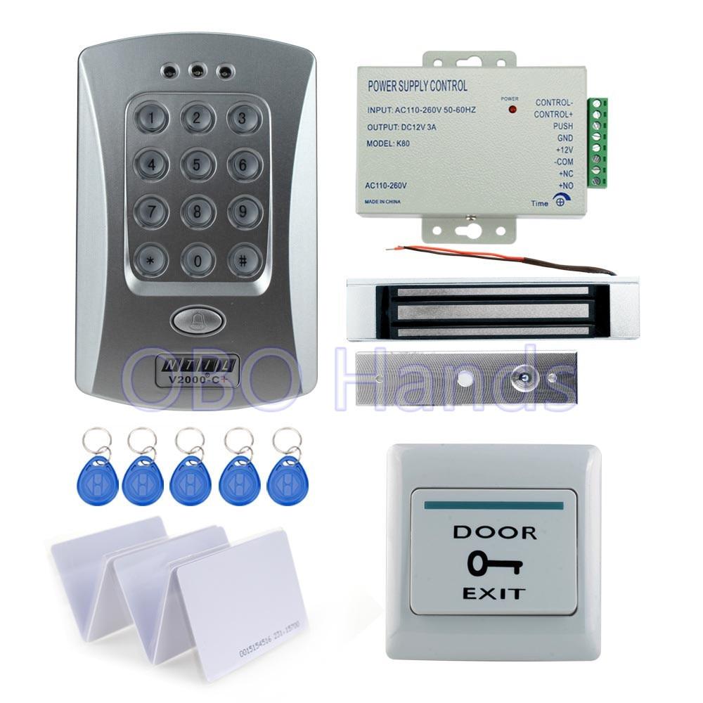 Горячие продажи завершена система контроля доступа двери kit V2000-C + и 180 КГ магнитный замок + питание + выход кнопка + 10 шт. ID ключ-карт