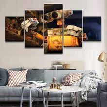 Canvas HD Prints Picture For Living Room Home Decor 5 Pieces Movie Robot Rubik's Cube Wall E Paintings Wall Art Poster Framework(China)