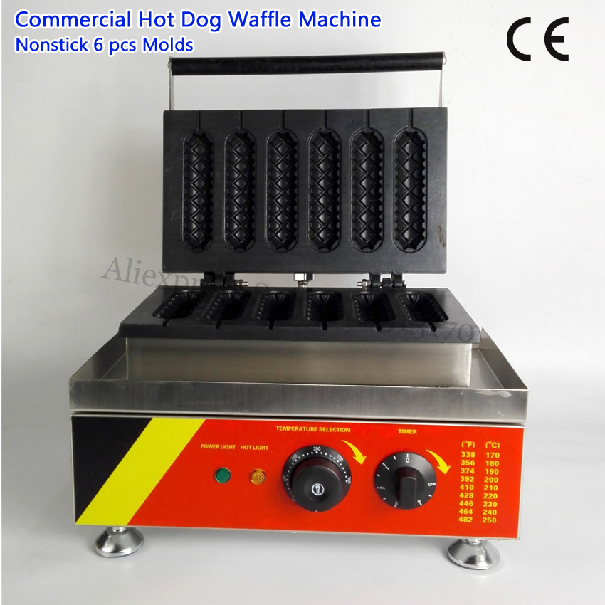 Lolly Waffle Hotdog Maker Machine 6 Molds Commercial French Muffin Hot Dog Machine 220V 110V 527 Brand New