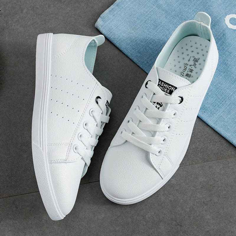 Women Casual Shoes Spring Summer Lace-Up Women Sneakers Women White Flats Shoes Fashion Breathable Women Vulcanization Shoes