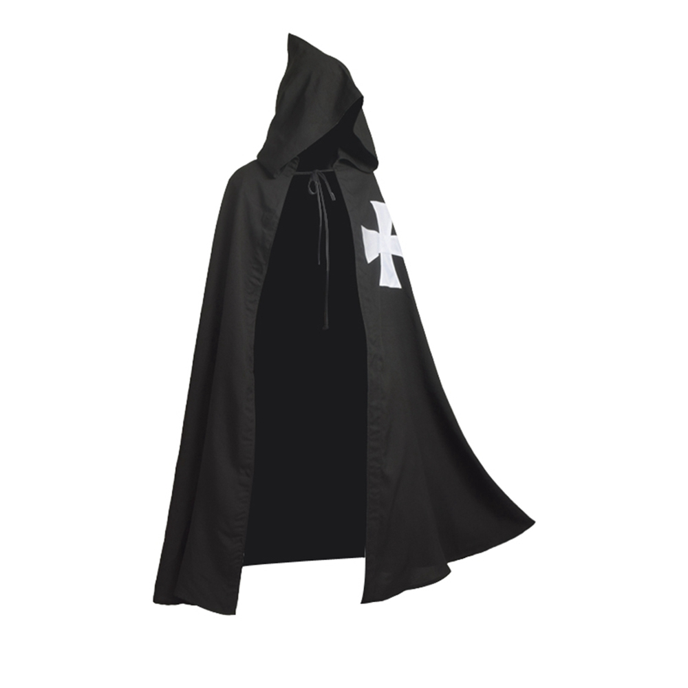 Medieval Halloween Costume Men Vintage Unisex Black Knights Hospitaller Crusader Cloak LARP Tunic Cross Cape Cosplay