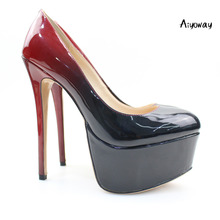 Aiyoway Women Shoes Ladies Round Toe Sexy High Heels Platform Pumps Clubwear Party Dress Shoes Gradient Black & Red Slip-On light khaki dress shoes suede faux leather round toe pumps platform leopard high heels slip on women shoes real photo us14