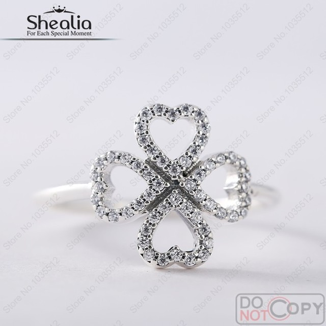 Newest Petals of Love Rings For Women 925 Sterling Silver AAA CZ Pave Four Leaf Clover 2016 Valentine Wedding/Engagement Ring