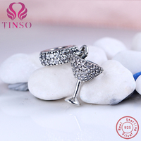 High Quality 925 Sterling Silver Wine Glass Charm Beads Fit Original Pandora Charms Bracelet Authentic Jewelry