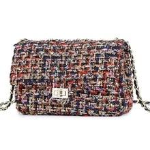 Lattice Wool Women Crossbody Bag Luxury Handbags Designer Brand Ladies Bags Retro Shoulder Messenger Bags Female Chain