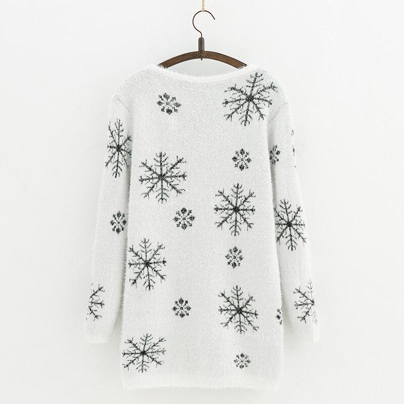 Dhihkk 2018 Autumn And Winter Female Sweater Coat Snowflake Pattern
